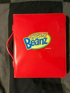 Mighty Beanz Series 2 Red Case w/ 21 Beanz- Labels- Collector Guide- Trick Guide