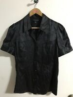 Banana Republic 100% Silk Black Short Sleeve Button Down Career Blouse Small