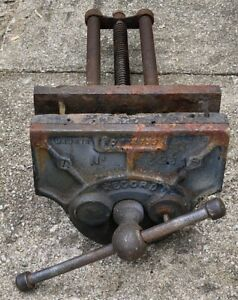 """Vintage Record No. 52 1/2 Quick Release Carpenters 9"""" Wide Jaws Vice Tool"""