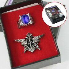 Anime Black Butler Kuroshitsuji Cosplay Ciel Sapphire Ring badge Set  In Box H