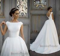 New White/ivory Satin Wedding Dresses Bridal Gown Custom 6 8 10 12 14 16 18 20