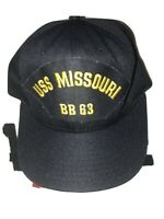 VTG USS MISSOURI BB 63 Naval Hat Snapback Ship Pearl Harbor California Headwear