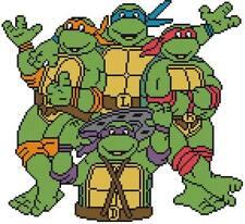 CROSS STITCH+ CRAFT PATTERN TMNT Teenage Mutant Ninja Turtles 4 Raphael Cartoon