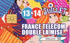France télécarte 50  13 et 14 juillet France télécom double la mise