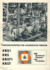 VEB Pumpenwerk Erfurt Prospekt Kreiselpumpen für aggresive Säuren DDR 1970