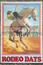 5 Prints Original Vintage Rodeo Posters of Cowboy Roping events Bronco Cowgirl