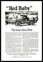 1922 INTERNATIONAL HARVESTER Red Baby Pickup Truck Vintage Antique AD