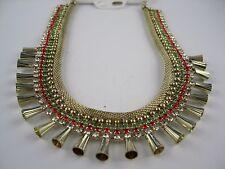 Ausdruckstarkes Goldenes Collier rot grün klare Steine Model Kleopatra