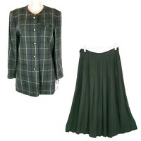 Jacqueline Ferrar Women Skirt Sets Button Front Check Green Size 10 - NWT