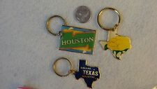 *Texas* Themed Key Chains Pack of 3 Vintage (80's) Unused!! Old Inventory !