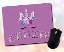Custom ~ Personalized Font & Name, Unicorn, Glam, Pretty ~ Vivid Mouse Pad 64