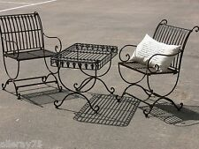FRENCH provincial garden set TABLE 2chairs outdoor wrought iron QUALITY ITEMS