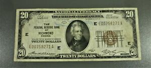 1929 $20 FRB Brown Seal Note Richmond District