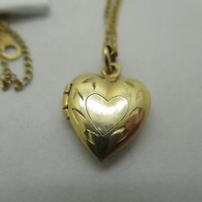 """14k Gold Small Heart Locket with Small Heart Etching with 18"""" Chain"""