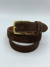 J HILBURN Men's Brown Suede White Stitching Belt Brass Removable Buckle USA 37