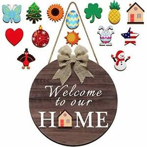 Wooden Seasonal Welcome Door Sign Interchangeable Welcome to Our Home Round Wood