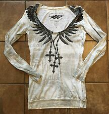 Affliction Dress Top Tunic Sweater Sz M White LS Feathers Angel Wings AMAZING!!