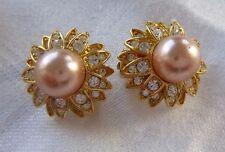 Signed JOAN RIVERS Clip Earrings Flower Design Swarovski Crystals & Faux Pearls