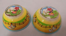 """Wolverine Tin Play Bowls, Mary Had A Little Lamb, 1.25"""" Tall, 3.25"""" Top Vintage"""