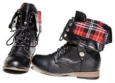 Women Military Plaid Folding Combat Lace Up Boots Zipper Low Heel Mid Calf Round