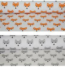 "Orange Grey Fox cotton fabric  width 160 cm / 63"""