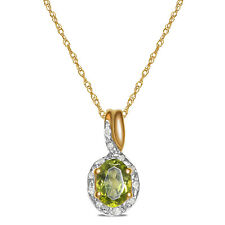 Women's Diamond Peridot Necklace Pendant in SOLID 10k Yellow Gold for Women