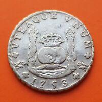 MEXICO 8 REALES 1753 FERDINAND VI silver coin COLUMNARIO PILLAR DOLLAR KM.104.1
