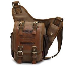 Men Canvas & Leather Shoulder Military Messenger Sling school Travel hiking bag