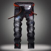 Hot Men's Long Classic Holes Jeans Straight Leg Slim Casual Denim Pants Trousers