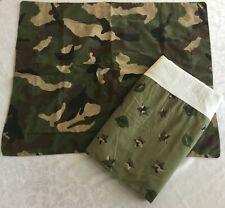 "Home Trends Twin Bed Skirt 39""X76"" Camo Green Corps Star Print W/Pillow Sham"