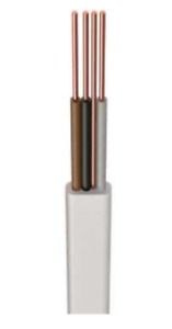 H6243B 1.0mm² LSF White 3 Core & Earth Cable Various Lengths available 1m - 30m