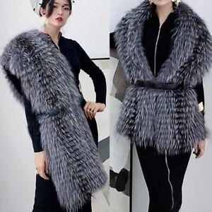 Real Genuine Big Fur Scarves Women's Fashion Silver Fox Fur Scarf Warm Shawl