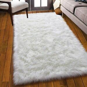 White Faux Fur Rug 4x6