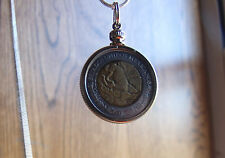 """MEXICAN Classic Eagle & Snake Bimetal Pendant on a 30"""" 925 Silver Snake Chain"""