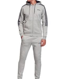 Adidas 3 Stripe Herren Trainingsanzug Tracksuit Jogginganzug Grau Navy Blau