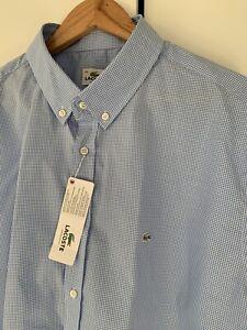 BRAND NEW Men's Lacoste Check Shirt XXL. Silver Croc RARE.