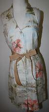 TOMMY BAHAMA Green Blue Peach Floral Hibiscus Linen Sleeveless Dress 6
