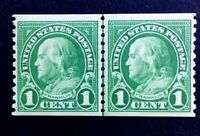 US Stamps, Scott #597 1c Vertical JLP 1923 Franklin, XF M/NH. Bright and fresh.
