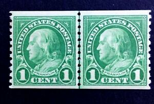 US Stamps, Scott #597 1c Vertical JLP 1923 Franklin XF M/NH. Bright and fresh.