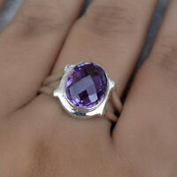 Faceted Purple Amethyst Gemstone 925 Sterling Silver Handmade Ring Size 9