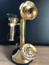 Teléfono de latón con colgando-Concha y dial 35 cm funcional Vintage