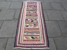 Old Hand Made Persian Oriental wool Red Pink Colourful kilim Runner 205x90cm