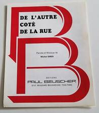Partition sheet music EDITH PIAF : De l'Autre Côté de la Rue * 40's MICHEL EMER