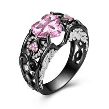 Heart Shape Pink Sapphire Black Gold Wedding Jewelry Women Angel Wing Ring Gifts
