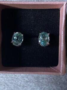 9k White Gold Ratanakiri Zircon Earrings Stud Butterfly Backs Never Worn Gift 🎁