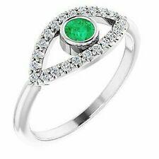 Emerald & White Sapphire Evil Eye Ring In Platinum