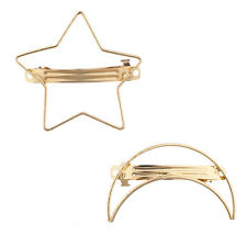 Lux Accessories Gold Tone Moon and Star Geo Cutout Snap Clip Set (2PCS)