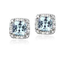 925 Silver 2.1ct Blue Topaz & 1/8ct Diamond Stud Earrings