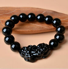 10mm Natural obsidian black jade Lingzhu bracelet bracelet Chinese dragon Pixiu