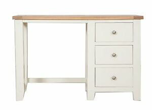 Hobart Ivory/Solid Oak Top Dressing Table With 3 Drawers Fully Assembled